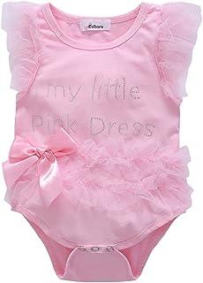 BOBORA Kids Baby Girls Embroidered My Little Black Dress Bodysuit Romper Jumpsuit 0-18M