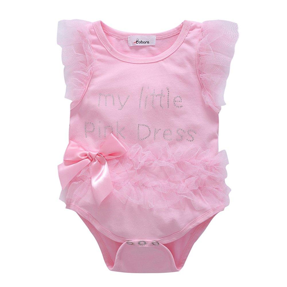 BOBORA Kids Baby Girls Embroidered My Little Black Dress Bodysuit Romper Jumpsuit 0-18M BON-N-1115