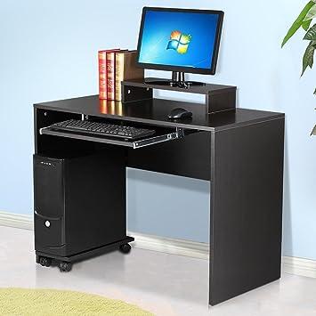 tinkertonk - Mesa de Ordenador con Bandeja de Teclado de PC para el hogar Oficina estación de Trabajo Estudiante Estudio Muebles, Negro, 100x50x72.5 cm: ...