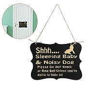 JuneJour Baby Sleeping Sign for Front Door- Sleeping Baby & Noisy Dog, Do Not Disturb Door Hanger Sign, Baby Room Decorative Wooden Plaques
