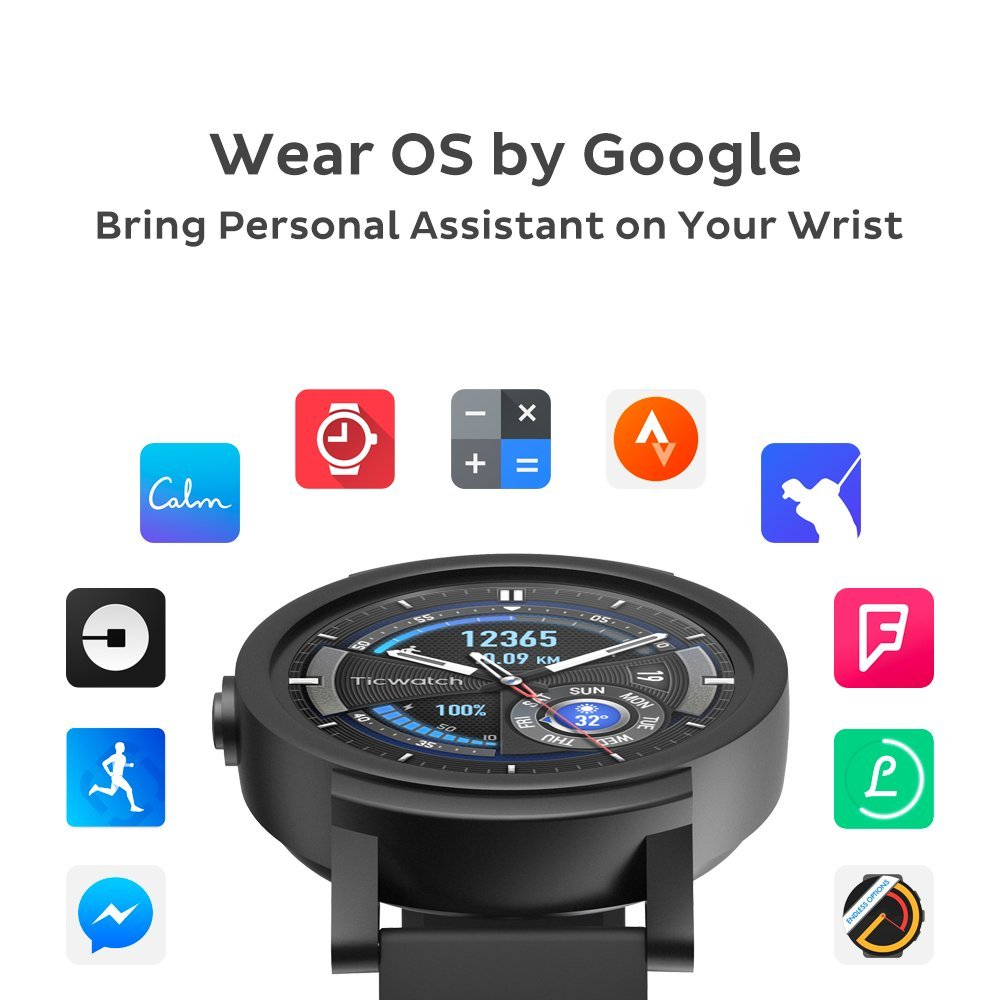 Ticwatch E Shadow Smartwatch, Water Resistant, Android Wear 2 0, Wear OS by  Google, Google Assistant, Sports Watch GPS, Heart-rate Monitor, Compatible
