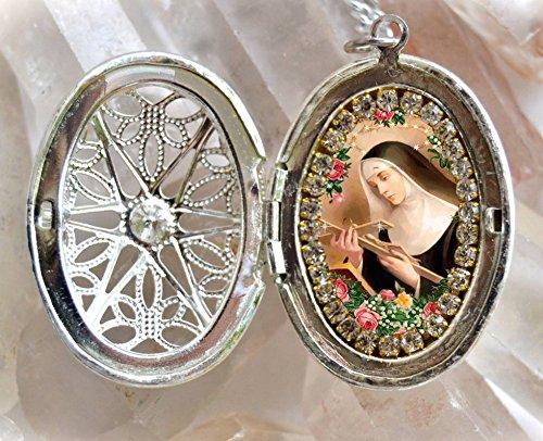 Saint Rita of Cascia or St. Rita de Cassia Handmade Locket Necklace Catholic Christian Religious Jewelry Medal Pendant