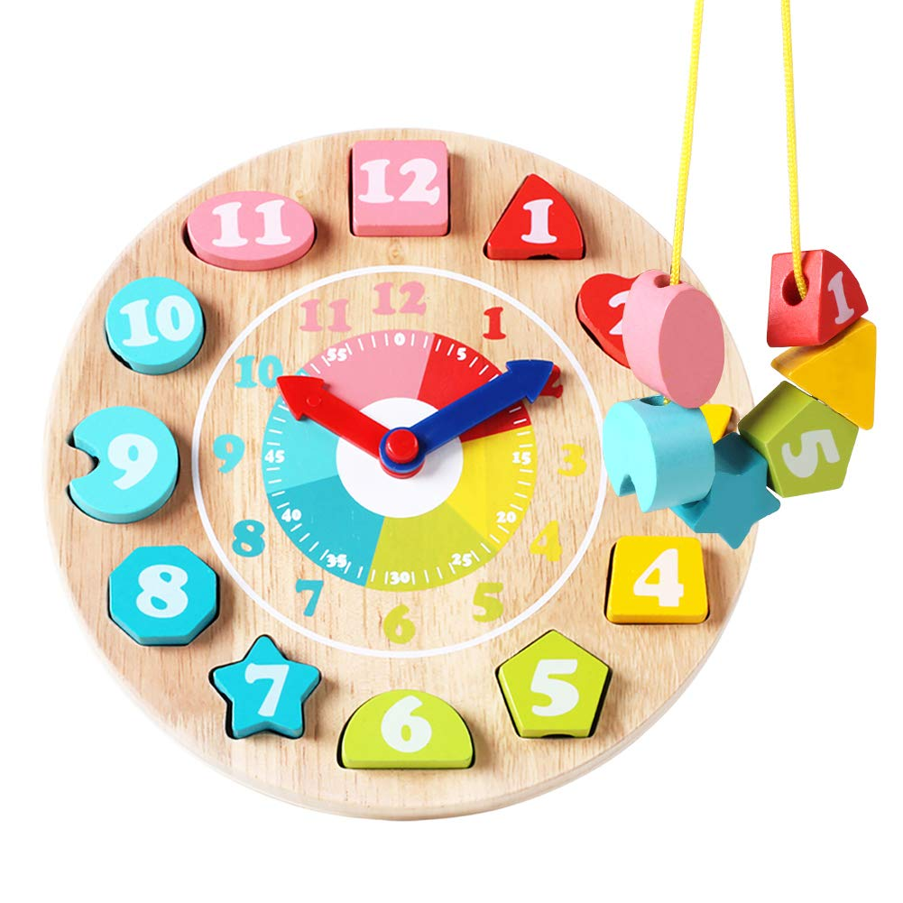 GEMEM Wooden Shape Sorting Clock Learning Clocks Teaching Time Number Blocks Lacing Beads Block Educational Toys for Toddlers Boys and Girls 3, 4, 5