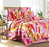 Virah Bella Debra Valencia Collection Pink Color Smudge Quilt and Pillow Sham Set 3 Piece (Chroma, Queen/Full)