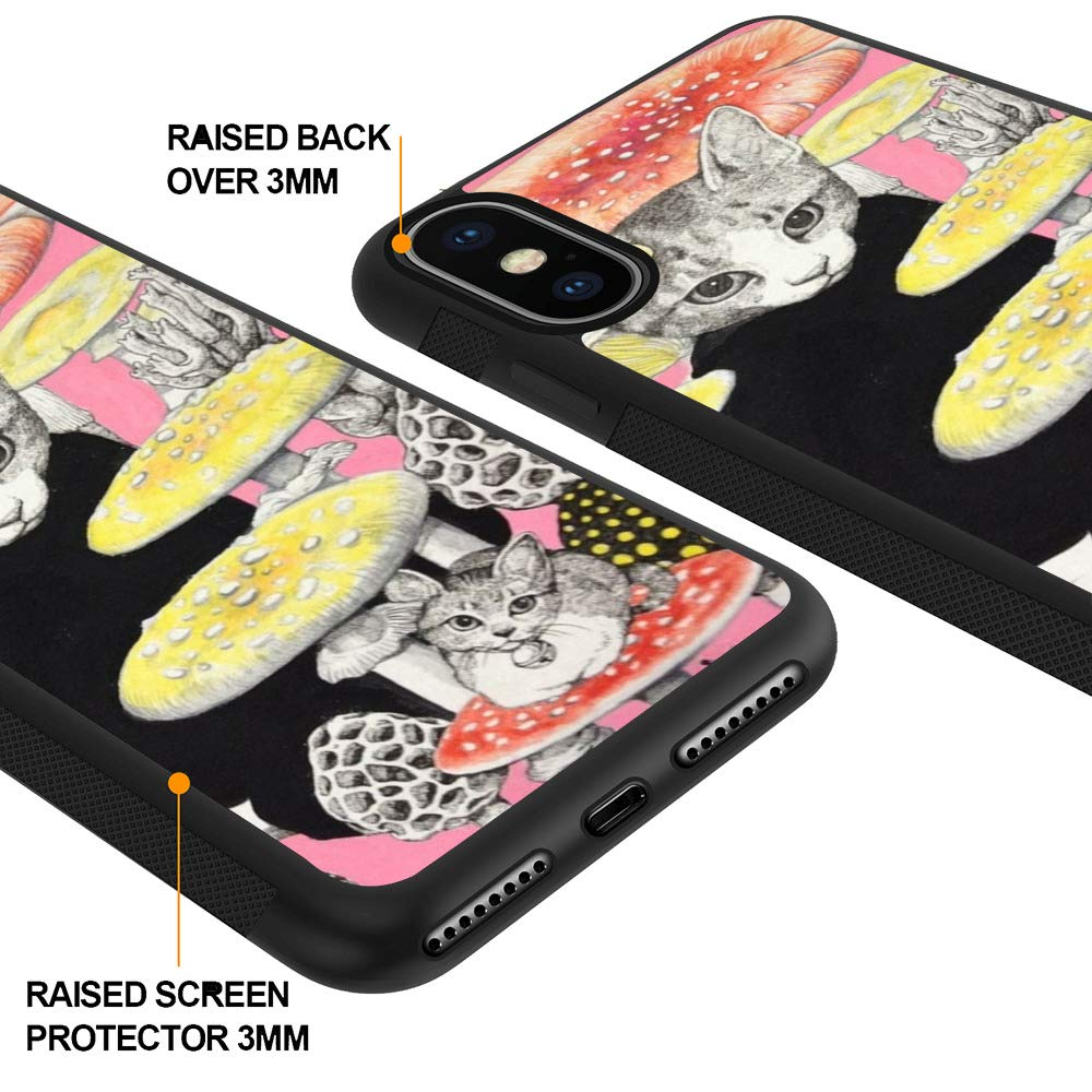 Amazon.com: iPhone Xs iPhone X Case with Cats and Mushroom Pattern Whimsical Design Bumper Black Soft TPU and PC Protection Anti-Slippery &Fingerprint Case ...