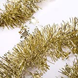iPEGTOP Christmas Tinsel Garland, Thick Cut Shiny Wedding Holiday Party Ceiling Hanging Ornaments Tree Decorations Snowflake Pendant, 3 Pcs 8.2 Ft, Gold