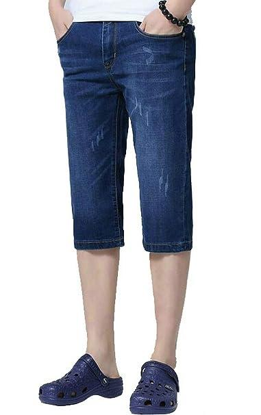 Fensajomon Mens Ripped Distressed Multi-Pockets Cropped Pants Plus Size Cargo Denim Shorts Jeans