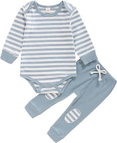 Newborn Infant Baby Boy Girl Fall Pajamas Set Solid Color Button Long Sleeve Romper Bodysuit Pants Clothes Set Sleepwear