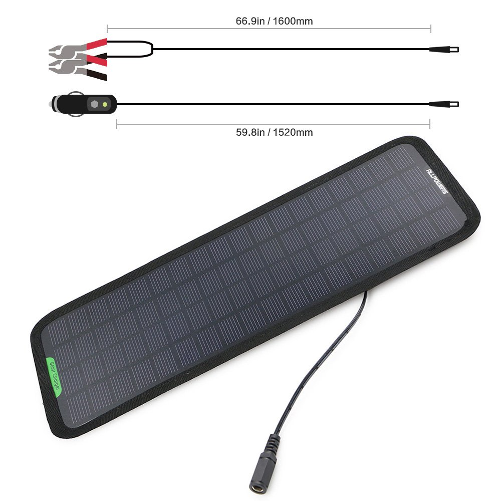 ALLPOWERS 18V 5W Portable Solar Car Battery Charger Bundle with Cigarette Lighter Plug, Battery Charging Clip Line, Suction Cups & Manual by ALLPOWERS (Image #4)