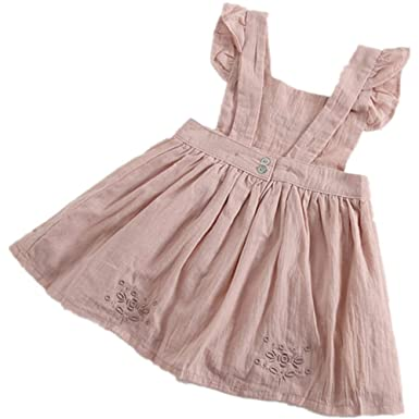 e7f4856b2d6e6 Birdfly Baby Girls Embroidered Ruffle Sleeveless Pinafore Dress Toddler  Kids Country Rustic Outfit
