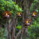 Solar Lights Outdoor Hanging Lanterns, ZHONGXIN Beaded Copper Wire Ball Candle Holder with Solar Tea Lights, Perfect for…