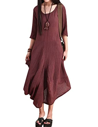 Youlee Frauen Sommer Leinen halbe Hülse Unregelmäßige Kleid Lila:  Amazon.de: Bekleidung
