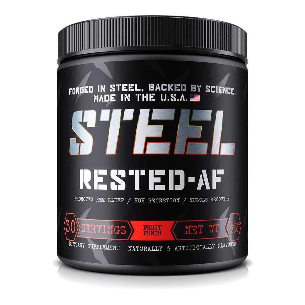 Steel Supplements Rested-AF Post Workout Recovery Aid Promotes Deep Sleep and Muscle Recovery 30 Servings Fruit Punch