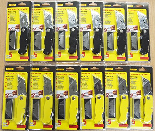Lockback Knife Utility Blue Folding (12Pc Folding Lock-back Utility Knife With 6 Blades Each, Blue/Red Colored)