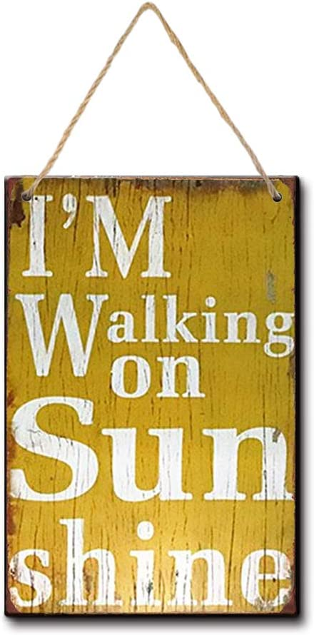 LPLED Wood Sign 8x12 i Walking on Sunshine Garage Tin Sign, Bar, Home Decor, Man Cave (Y3085)