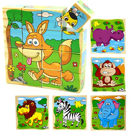 VolksRose 16 Pcs Wooden Cube Block Jigsaw Puzzles - Animal #2 Pattern Blocks Puzzle for Child 3 Year and ()