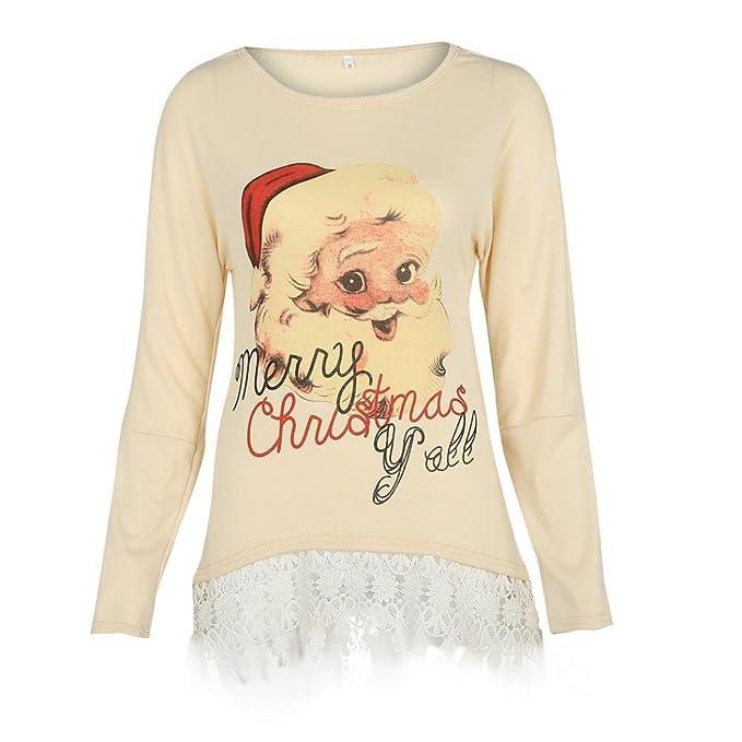 OverDose camisas mujer de navidad dobladillo de encaje elegante blusa estampada de Santa Claus