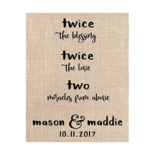 Twin Parent Gift - Baby Shower Keepsake, Two Miracles From Above, Print on Burlap, Ready to (Sultans Secret Door)