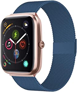 Adooson Compatible with Apple Watch Band 38/40/42/44mm, Stainless Steel Replacement Bands for Watch Series 5/4/3/2/1 (Midnight Blue, 42mm/44mm)