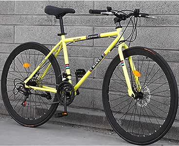 HAOYF Bicicleta De Carretera De 26 Pulgadas Y 24 Velocidades, Freno De Disco Doble, Marco De Acero con Alto Contenido De Carbono, Bicicleta De Carretera Unisex, Altura del Ciclista 160-185Cm,Amarillo: Amazon.es: Deportes