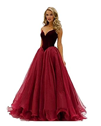 80e8e1366e8 Baijinbai Long Formal Bridesmaid Dress Ball Gown Evening Party Cocktail Prom  Dresses Red UK16  Amazon.co.uk  Clothing