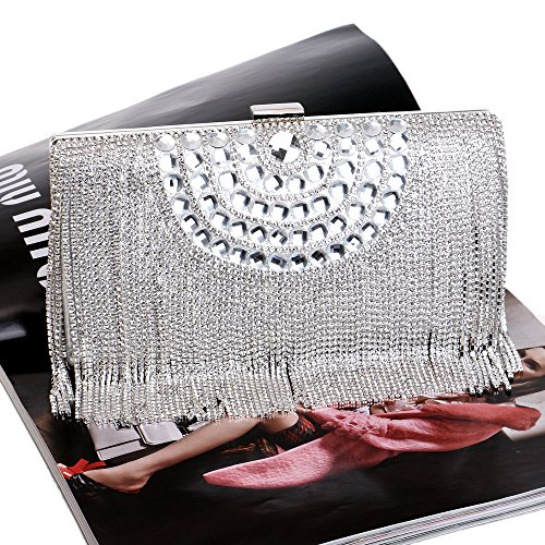 Shoulder Clutch For Prom Tassel Envelope Diamante Handbag Gift Evening Bag Purse Party Wedding Bridal Clubs Silver Bag Sequin Glitter Women Ladies 7wSdvqBx7