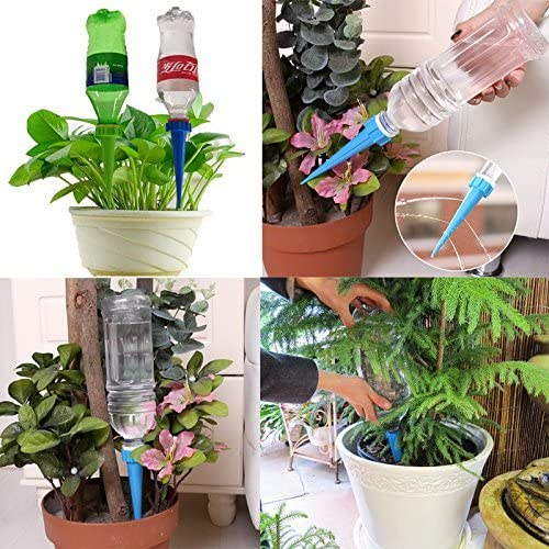 Random Color MOTZU 8 Pack Self Watering Spikes Devices System for Indoor Outdoor Plant Watering Drip Irrigation System Holiday Vacation Garden