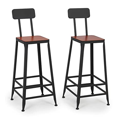 Belleze Industrial Bar Stools Barstools Wood Counter Height Wood Seat (Set of 2)  sc 1 st  Amazon.com & Amazon.com: Belleze Industrial Bar Stools Barstools Wood Counter ... islam-shia.org