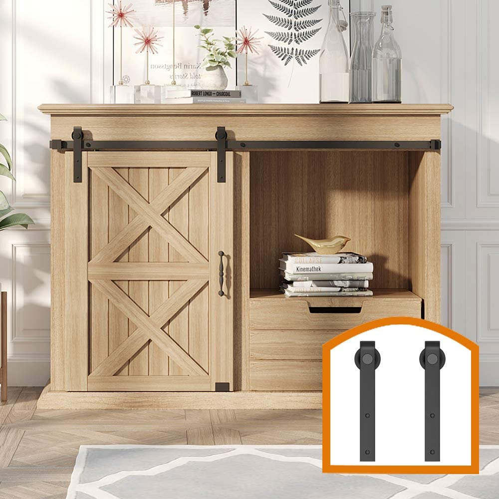 ZEKOO 2.5-8 FT Super Mini Sliding Barn Door Hardware Kit J Shape Hanger Flat Track for Cabinet TV Stand Console (4FT, Single Door Kit)