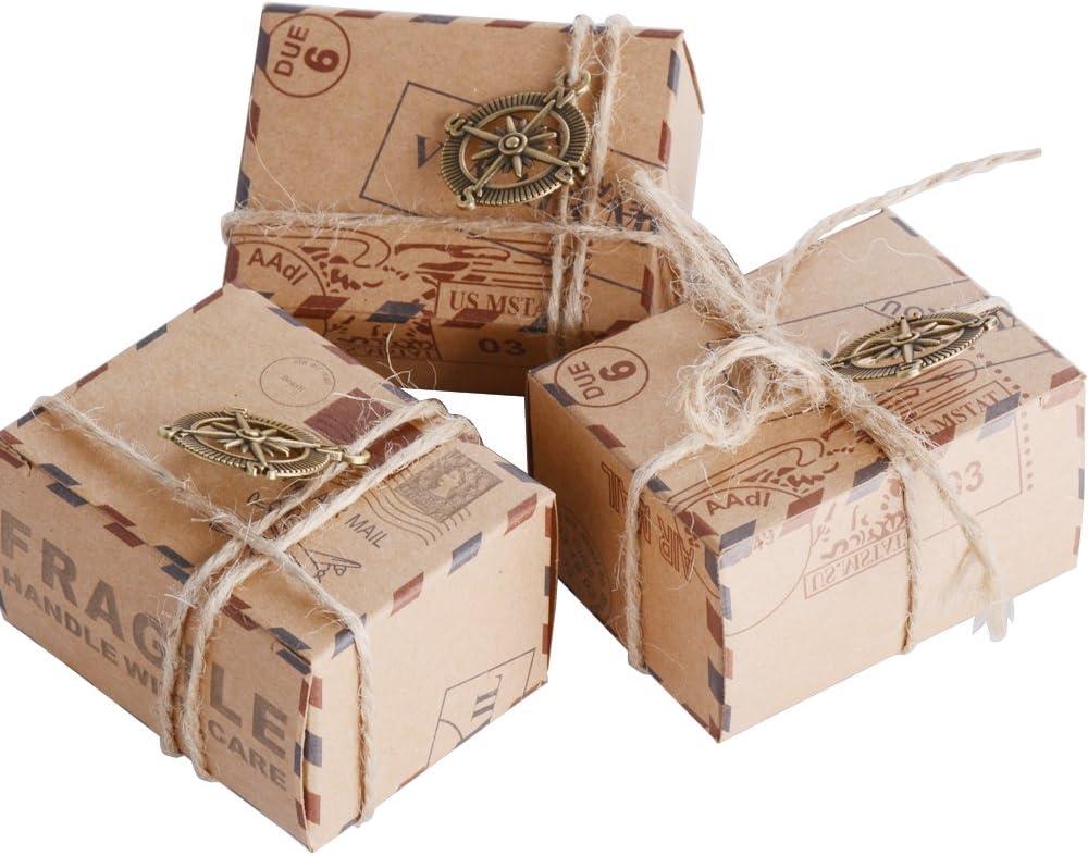 50pcs Cajas de Papel Kraft de Caramelo Dulces Bautizo Bombones Regalos Recuerdos Detalles para Invitados de Boda Fiesta Comunion Graduación Decoración Favor Boda