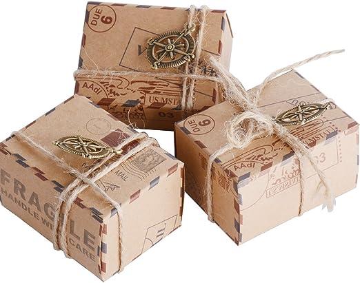 50pcs Cajas de Papel Kraft de Caramelo Dulces Bautizo Bombones ...