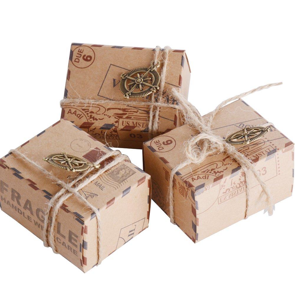 50 pcs Boussole AONER 50 pcs Bo/îte /à Drag/ée Cube Portaconfetti Bo/îte en Carton Th/ème Voyage Monde Vintage Bussola