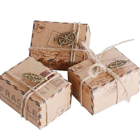 50pcs Cajas de Papel Kraft de Caramelo Dulces Bautizo Bombones Regalos Recuerdos Detalles para Invitados de