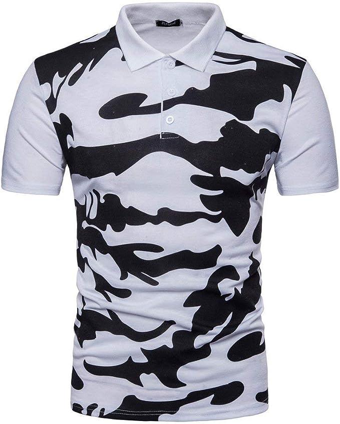 Hombre Polo Camisa De Estilo Militar para Camuflaje Estampado ...