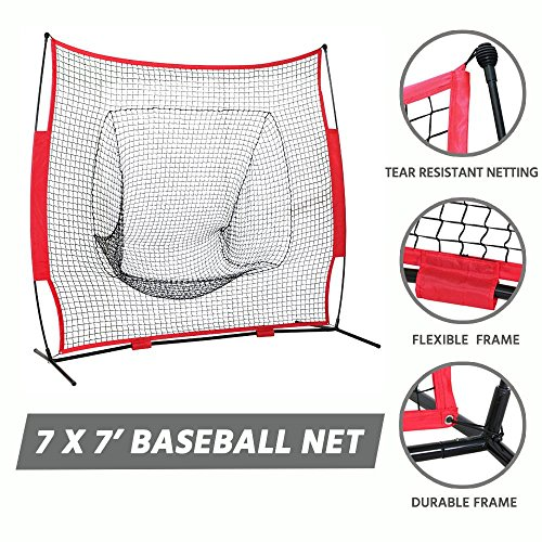 Yaheetech Baseball Net Screen 7 x 7' Softball Practice Hitting and Throwing Drills Net W/Carry Bag - Baseball Backstop Netting