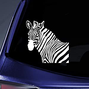 "Bargain Max Decals - Zebra Head Sticker Decal Notebook Car Laptop 5"" (White)"