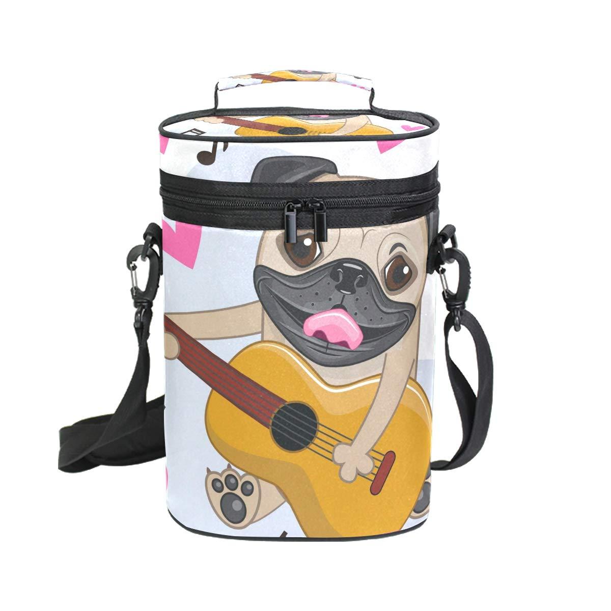 COOSUN - Bolsa de transporte para vino con diseño de perro carlino con guitarra aislada - Bolsa de viaje con asa y correa ajustable para el hombro