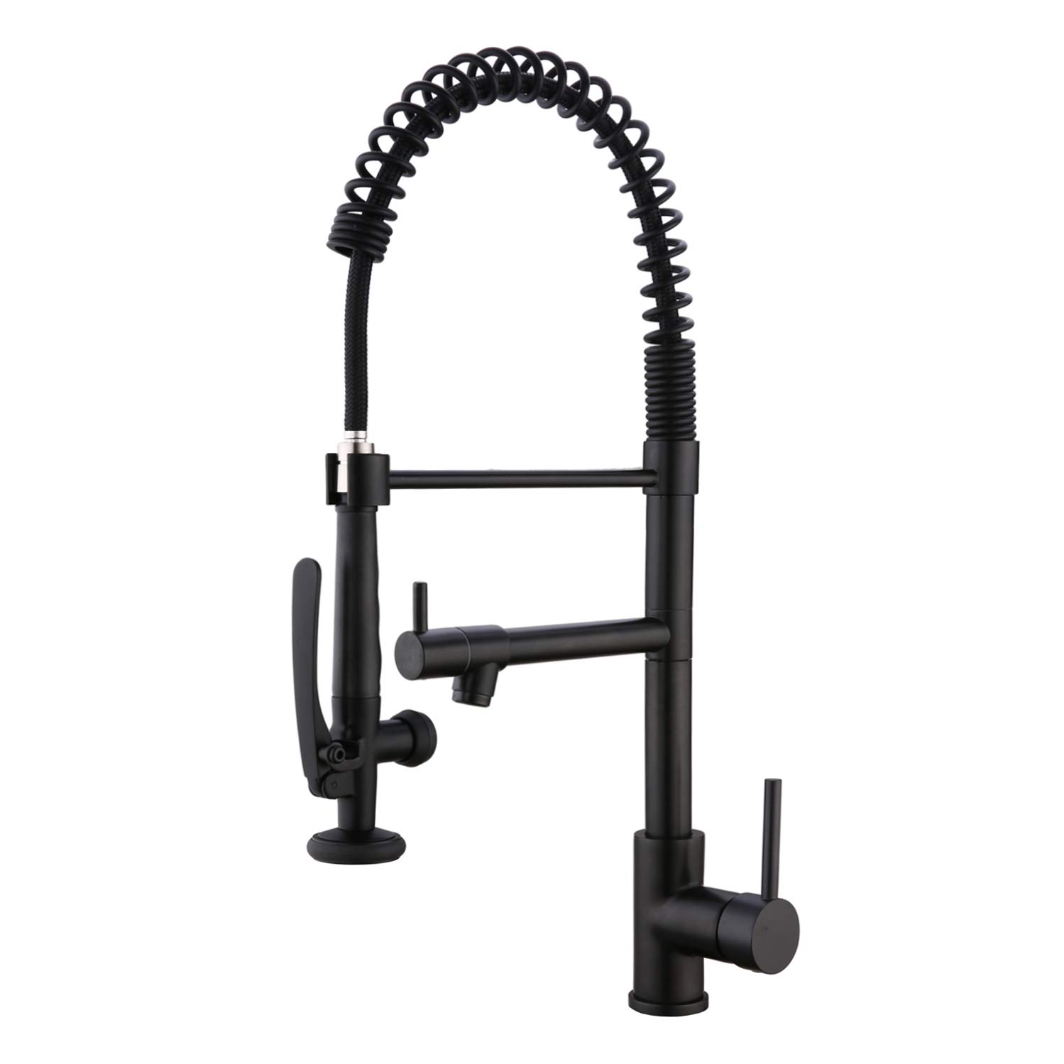 EKRTE Heavy Duty Commercial Style Kitchen Sink Faucet, Single Handle Pre-Rinse Spring Sprayer Kitchen Faucets, High Arc Pull Down Matte Black Kitchen Faucet