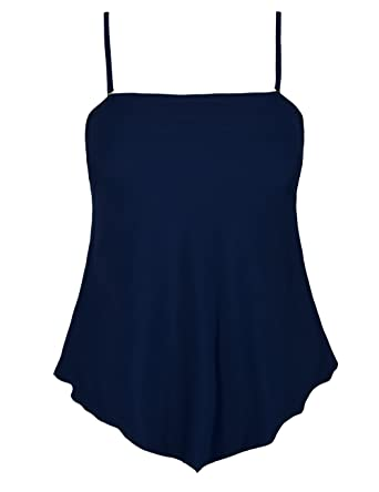 6a341c730e001 Amazon.com: Mycoco Women's Flowy Swimsuit Solid Bandeau Tankini Top  Irregular Hemline Swim Top: Clothing