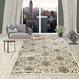 Rugshop Contemporary Circles Design Area Rug, 5'3 x 7'3, Cream Review