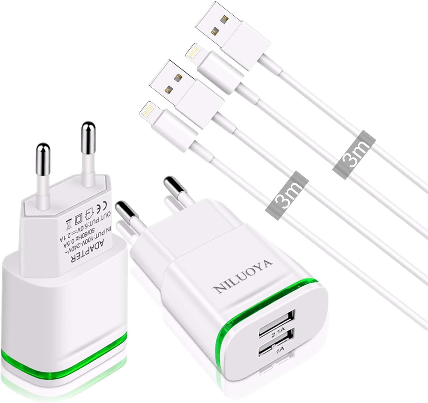 2 cargadores Niluoya + 2 cables lightning de 3m por sólo 7,64€
