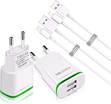 Niluoya Cargador Phone, 4-Pack 2.1A/5V 3M Cable y Dos Enchufe USB Movil de