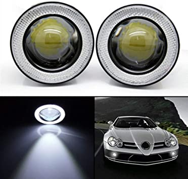 2 Pcs White COB LED Angel Eye Halo Rings Car SUV Fog Light Driving Working Lamps