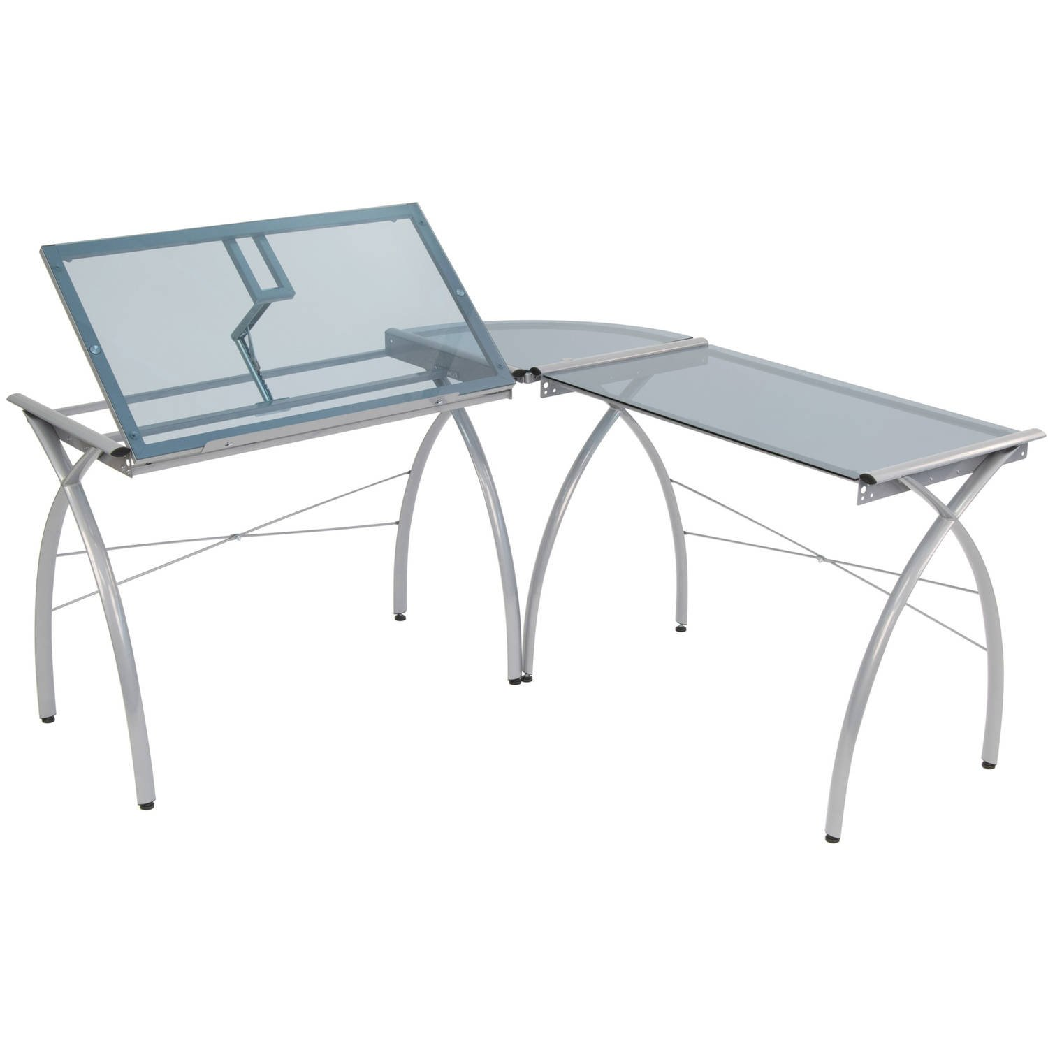 Corner Desk Drafting Table, L Shaped, Workstation, Adjustable Split Top, Functional, Suitable for Home Office, Art Student, Work and Craft Furniture + Expert Guide by Care 4 Home LLC (Image #1)