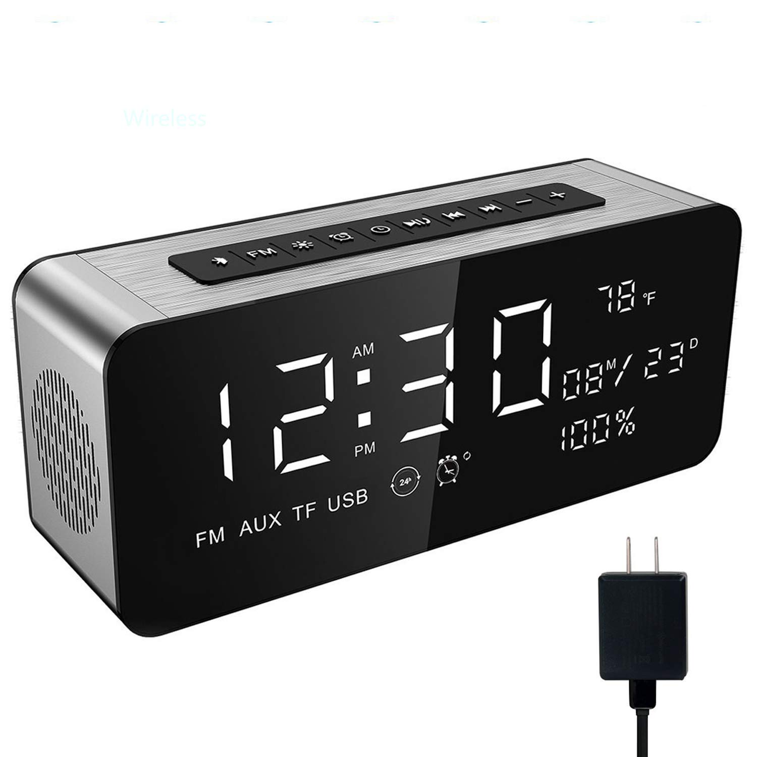 Soundance Alarm Clock Radio - with FM Radio, Wireless Speaker, TF Card USB Disk Player, 9'' Large LED Display for Bedroom Bedside Office Desk Laptop Desktop Computer, A10 with Charger Silver by Soundance