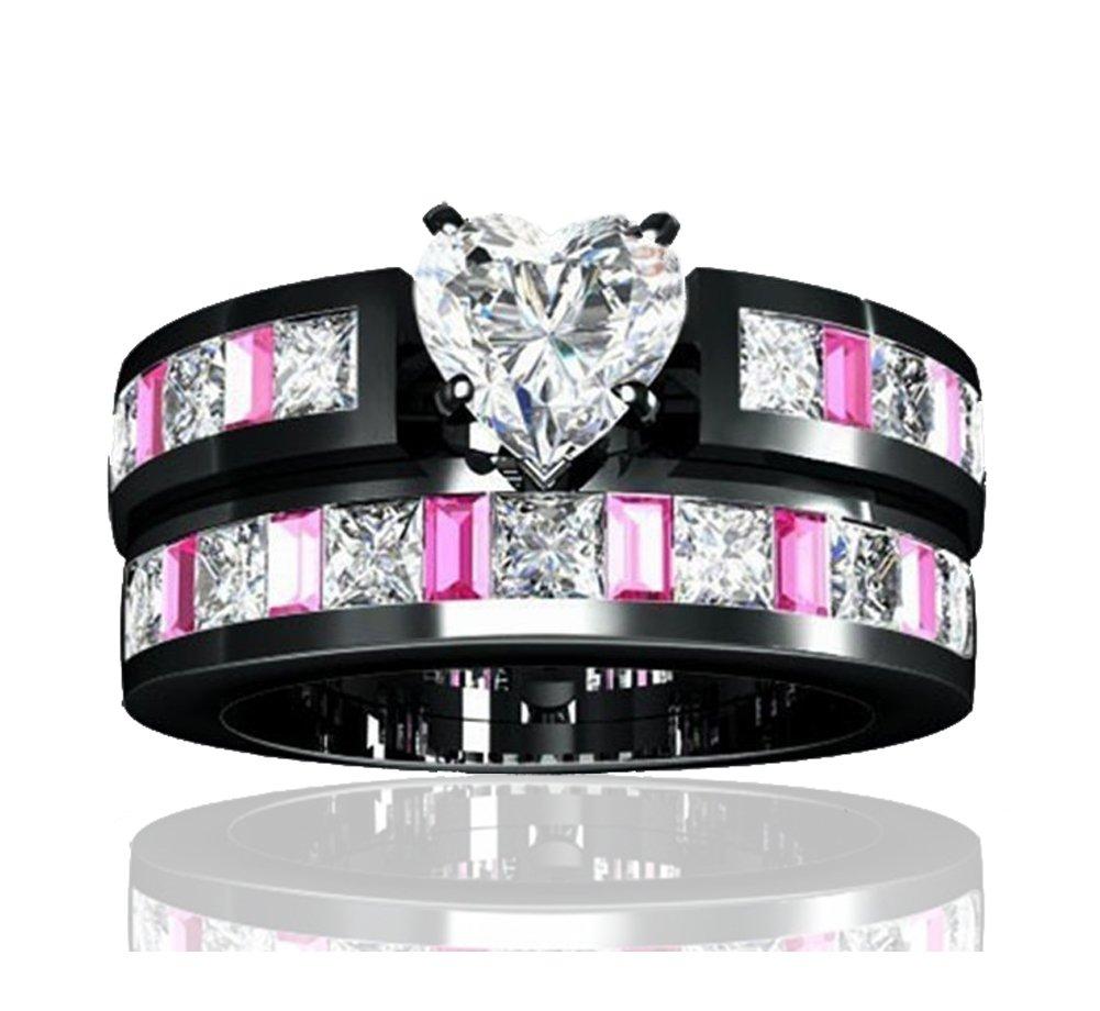 Siarola Women's Engagement Wedding Rings Cut Pink Cubic Zirconia Black Gold Plated Heart Fashion Sets R165(6)