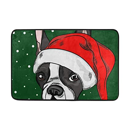 Amazon Com Doormat French Bulldog Christmas Bath Rugs Non Slip