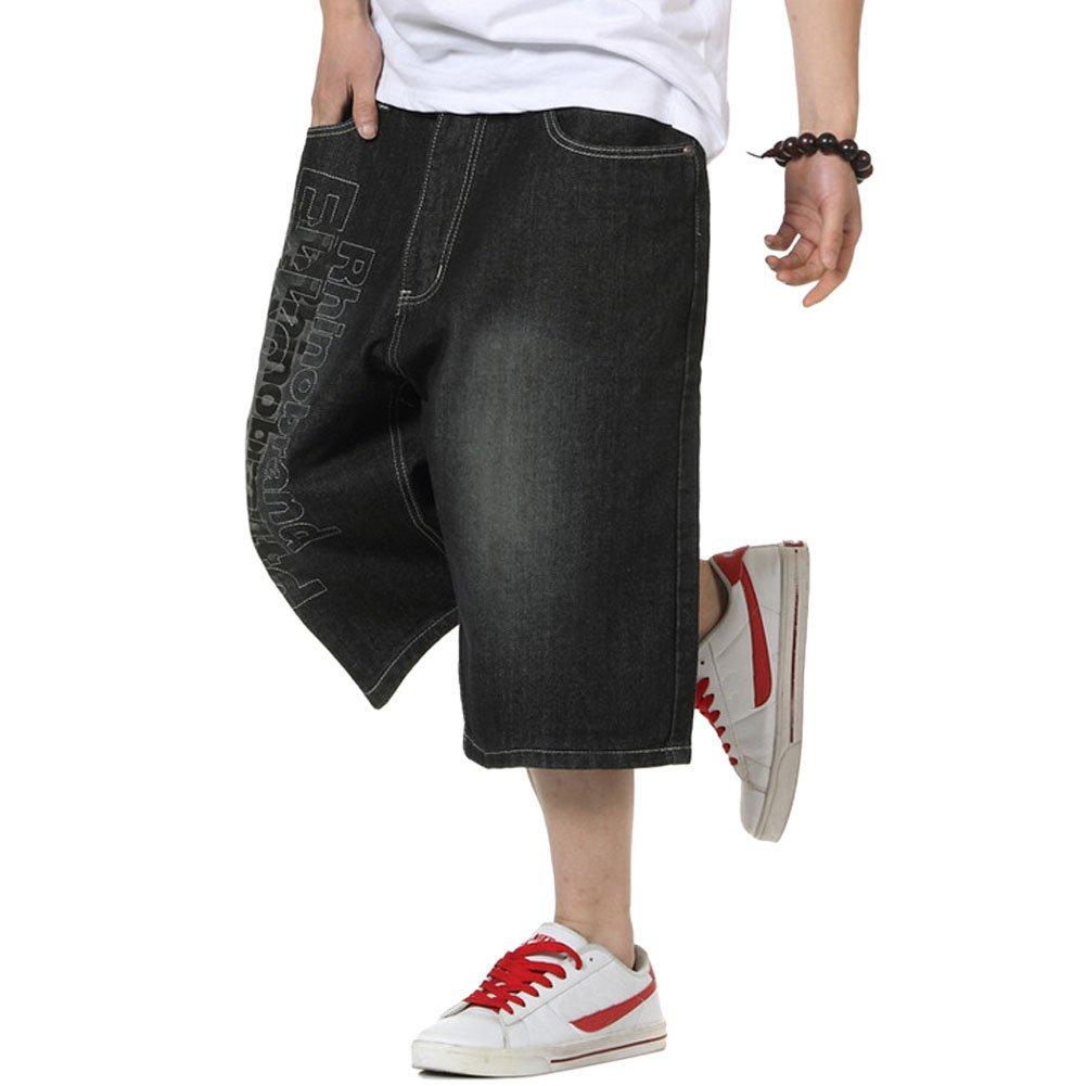 Crazy Men's Hip Hop Embroidery Baggy Jeans Denim Shorts
