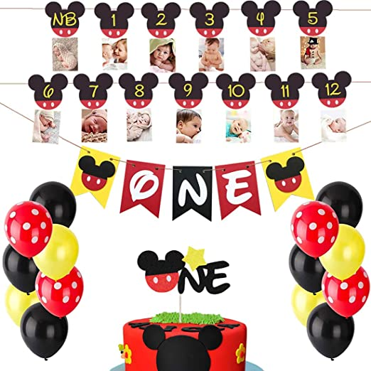 Stupendous Amazon Com Heeton Mickey Mouse First Birthday Set Mickey 1St Funny Birthday Cards Online Alyptdamsfinfo