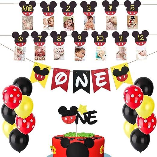 Swell Amazon Com Heeton Mickey Mouse First Birthday Set Mickey 1St Funny Birthday Cards Online Fluifree Goldxyz